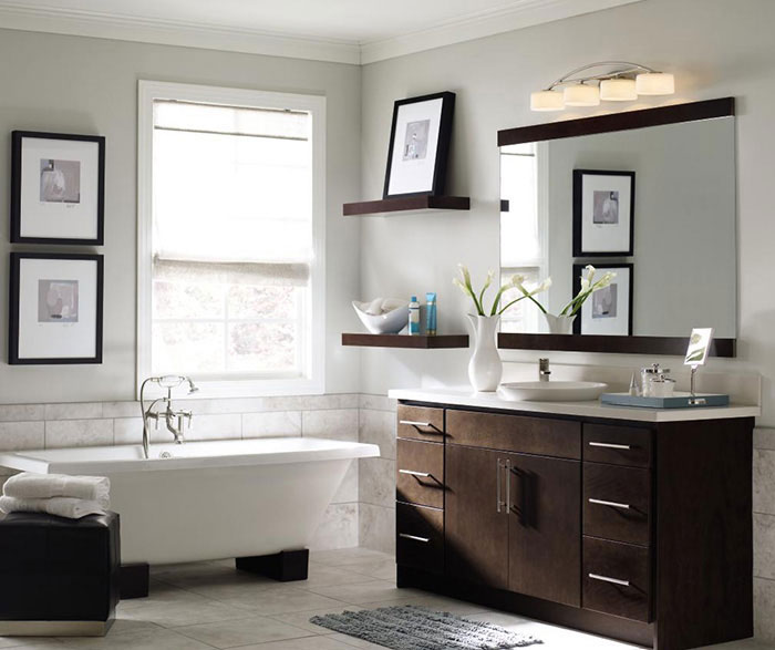 Contemporary bathroom vanity by Homecrest Cabinetry