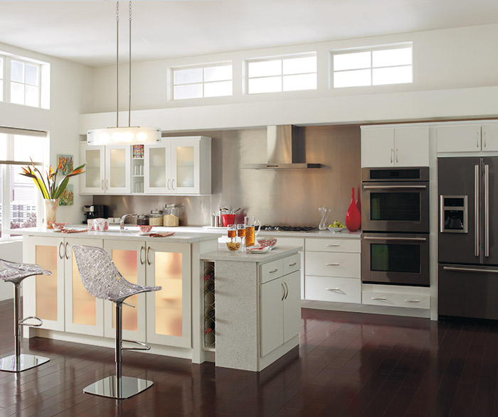 White Rainier slab kitchen cabinets in Alpine opaque finish