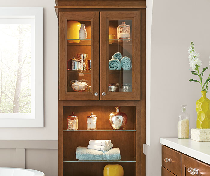 Cherry cabinets in a casual bathroom homecrest - Cherry finish bathroom wall cabinet design ...