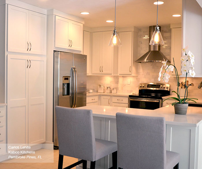 White Shaker kitchen cabinets in the Arbor door style