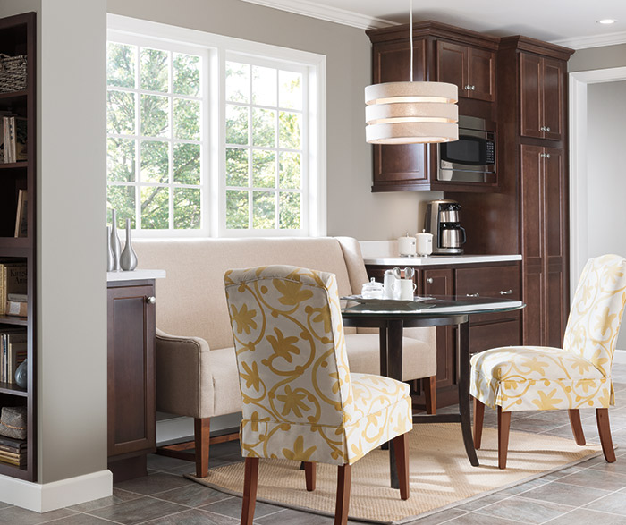 Laurel dark Cherry kitchen cabinets in Bison finish