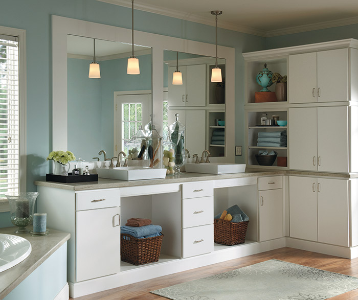 White bathroom cabinets in Rainier door style