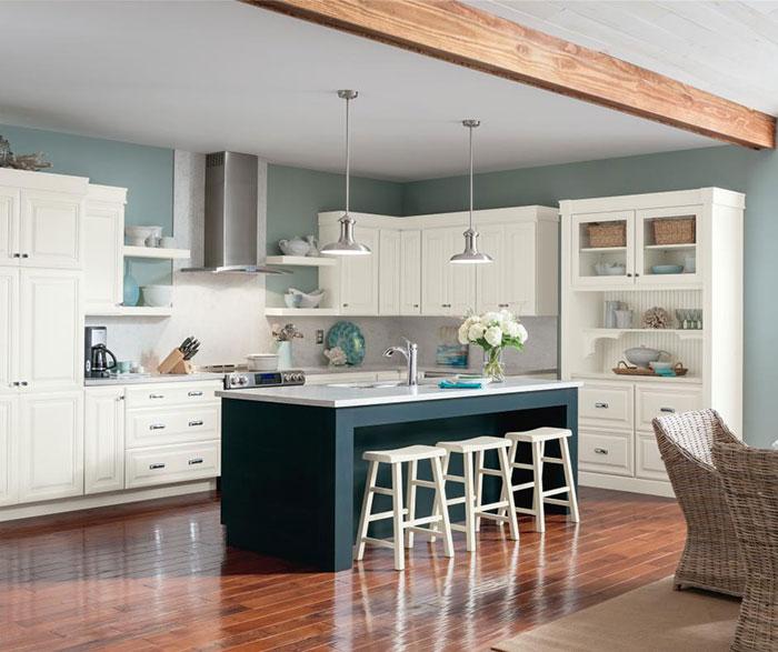 Alpine white glazed cabinets with Cadet blue kitchen island