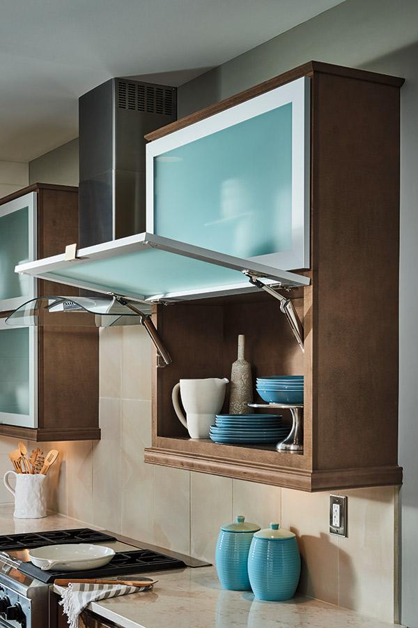 Wall top hinge cabinet with door open